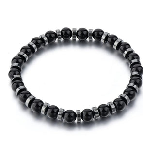 black and silver hematite elastic bracelet. 6mm beads, unisex bracelet