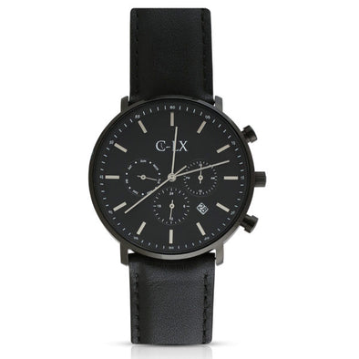 Belmont Eclipse Black Leather Mens Watch