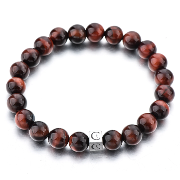 brown tiger eye beaded elastic bracelet