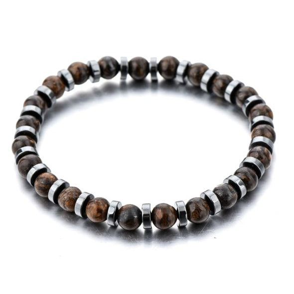BROWN NATURAL STONE HEMATITE BRACELET