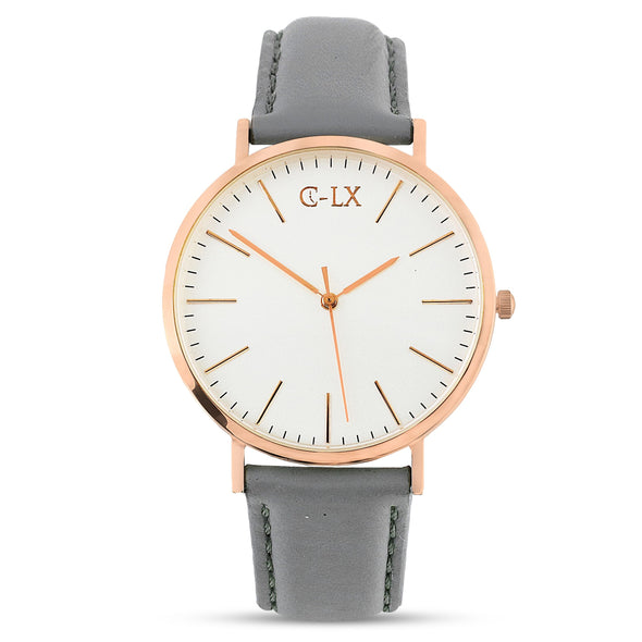 AUGUSTAN LYON ROSE GOLD AND GREY LEATHER WOMENS WATCH