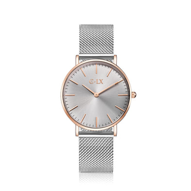 Rose Gold Silver Mesh Band Womens Watch