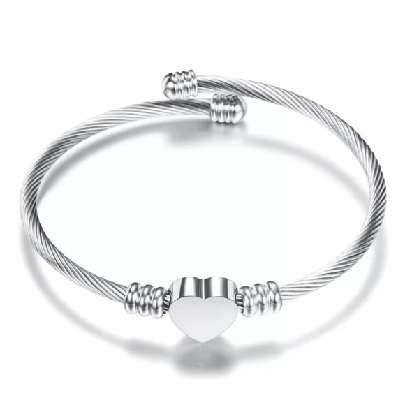 LADIES SILVER CABLE CUFF BRACELET