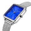 square face ladies watch features blue face and silver mesh band