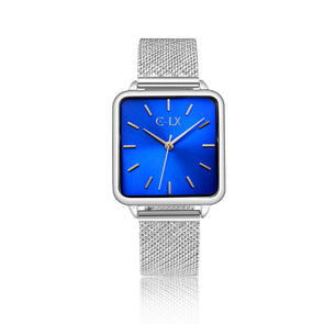 petite ladies square watch. blue face with mesh band, stainless steel