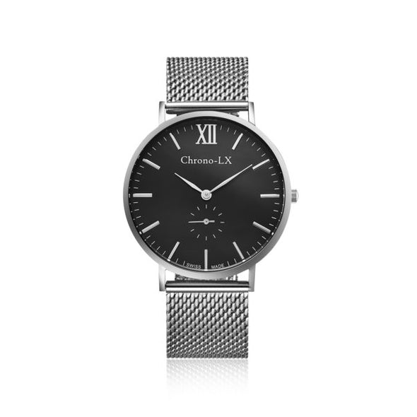 40MM BLACK DIAL SILVER MESH BAND, SWISS RONDA MOVEMENT, LIGHWEIT AND COMFORTABLE WATCH