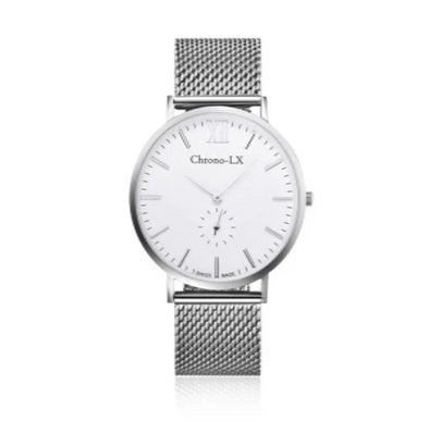 40mm stainless steel unisex watch with mesh band. swiss movement