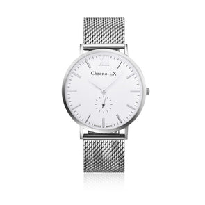 WHITE DIAL SILVER MESH SWISS RONDA MOVEMENT, LIGHTWEIGHT WATCH