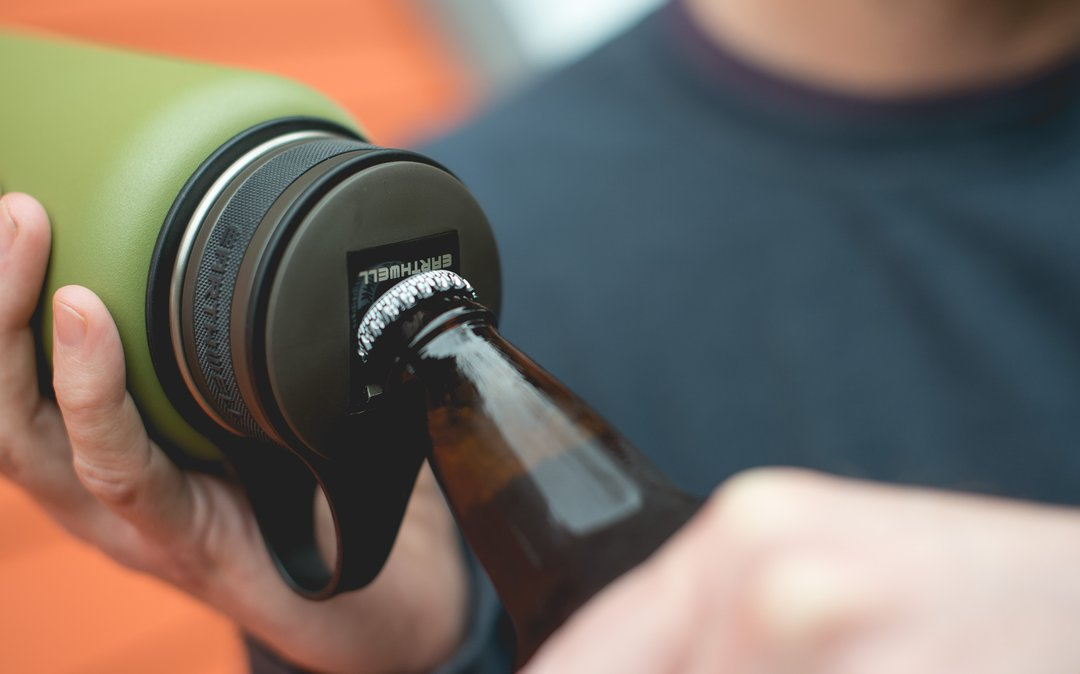Earthwell Insulated Kewler Water Bottles come with a bottle opener built into the cap.