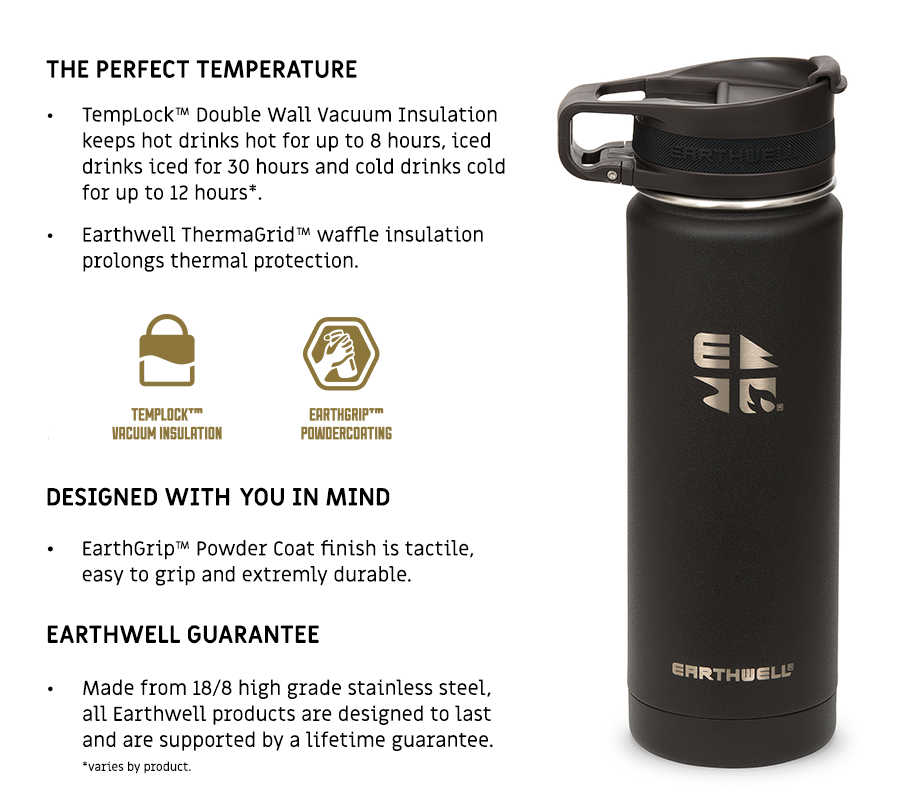 Earthwell technology for Earthwell water bottles, travel mugs flasks and insulated tumblers.
