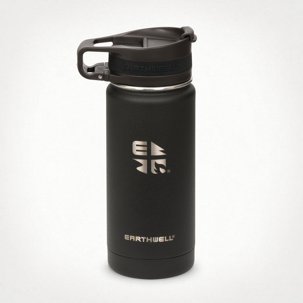 Earthwell Roaster Vacuum Insulated Travel Mug with leak proof lid in Volcanic Black
