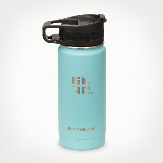 Earthwell Roaster Stainless Steel Insulated Travel Mug with leak proof lid in Aqua Blue