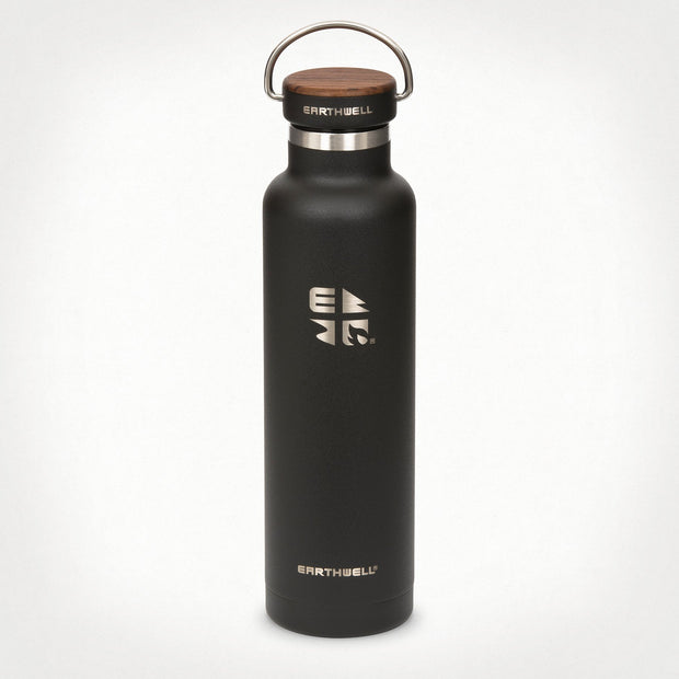 Earthwell Woodie Insulated Stainless Steel Water Bottle in Volcanic Black