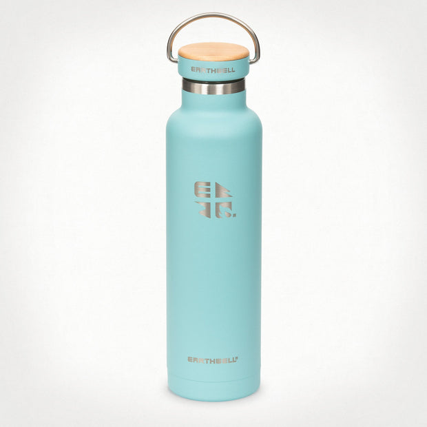 Earthwell Woodie Vacuum Insulated Water Bottle in Aqua Blue