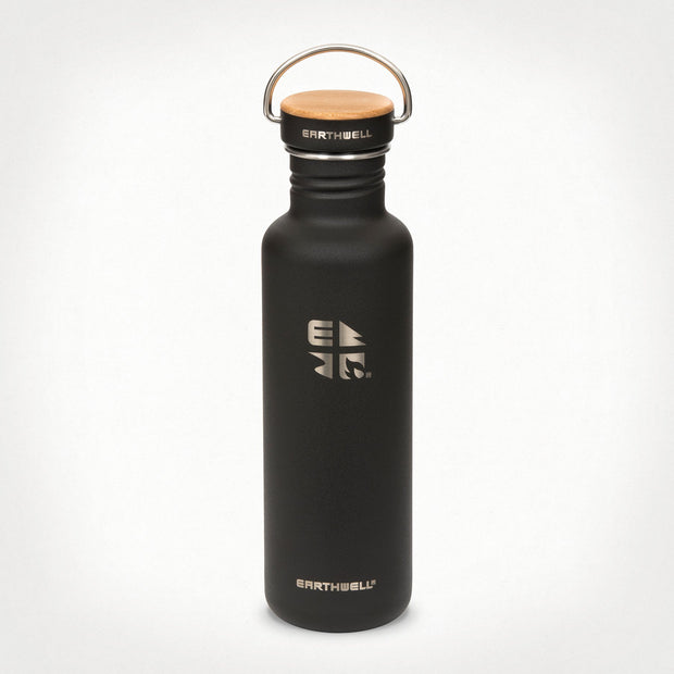 Earthwell Woodie Water Bottle - Volcanic Black
