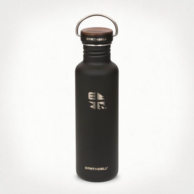 Earthwell Woodie Stainless Steel Water Bottle in Volcanic Black