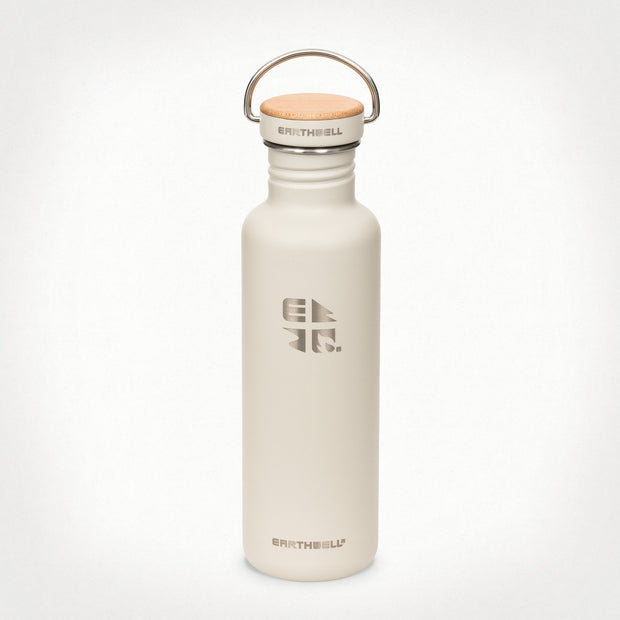 Earthwell Woodie Single Walled Stainless Steel Water Bottle - Baja Sand with Maple lid