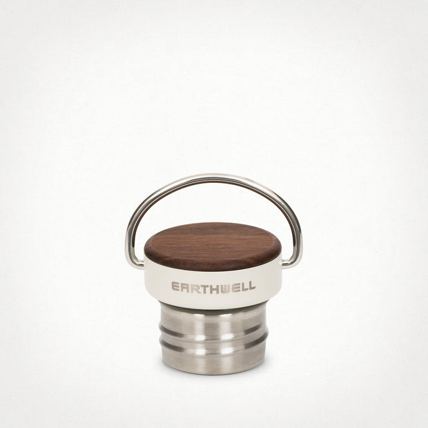 Eathwell Woodie Insulated Water Bottle Cap with a Maple wood lid.