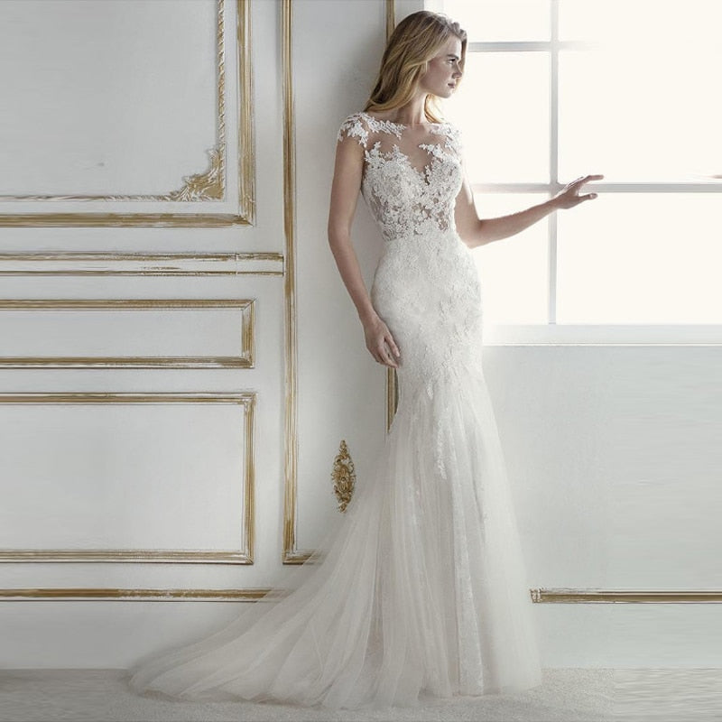 Mermaid Wedding Dress 2019 Appliques Lace Tulle
