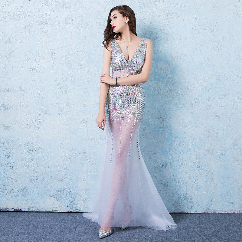 Sexy Perspective V-neck Halter Long Mermaid Dresses