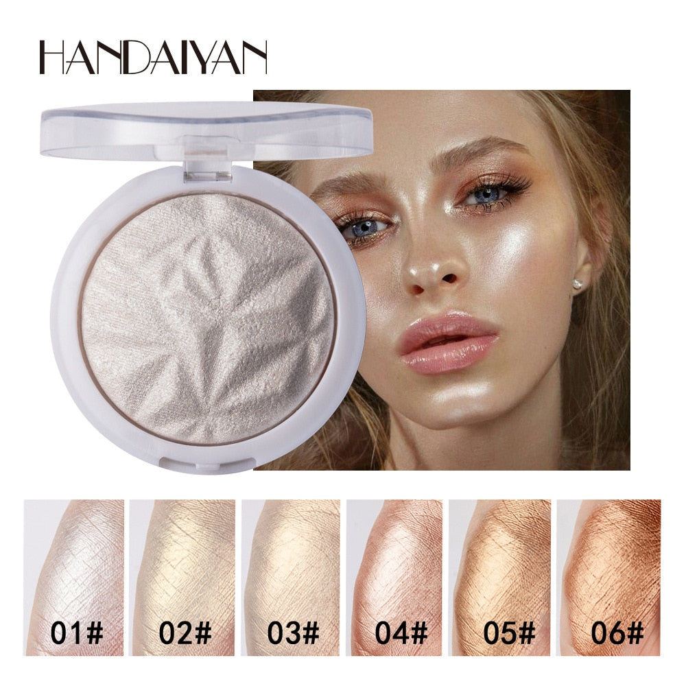 6 Color Highlighter Facial Bronzers Palette Makeup Glow Face