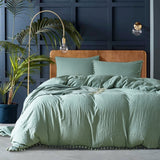 Solid Color Soft Polyester Home Bedding Set US Twin Queen King Size