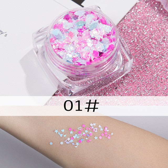 12 Color Glitter Shimmer Face Jewels Pigment Body Face Eye