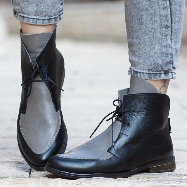 Adisputent Plus Size Ankle Boots Women Platform Lace Up