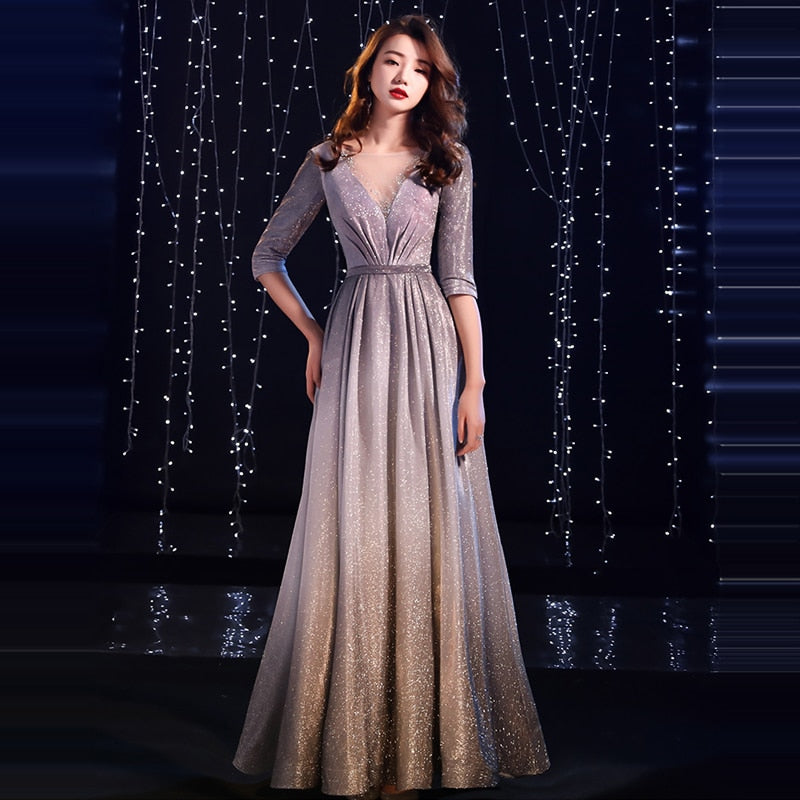 2019 V-neck Pleat Shiny Half Sleeve Gray Floor-length