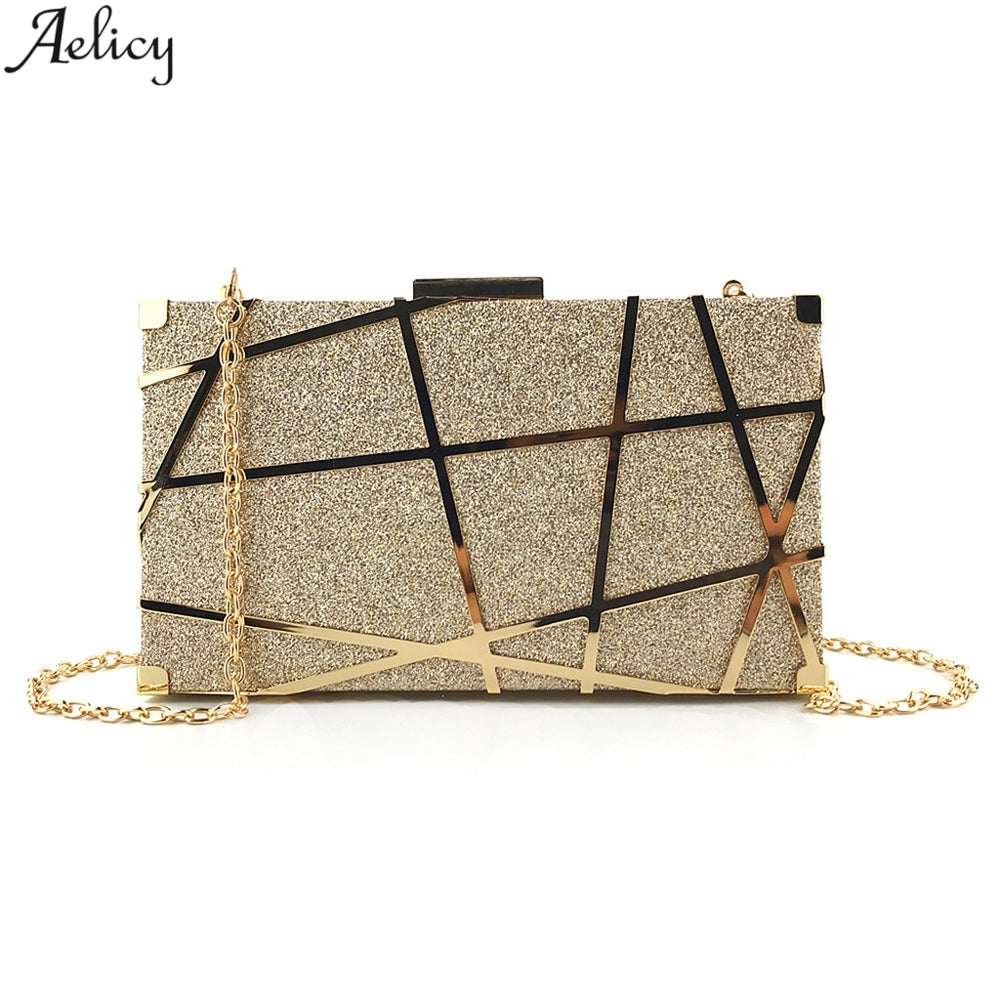 Aelicy Luxury Gold Evening Bag Women Party Banquet Glitter Bag