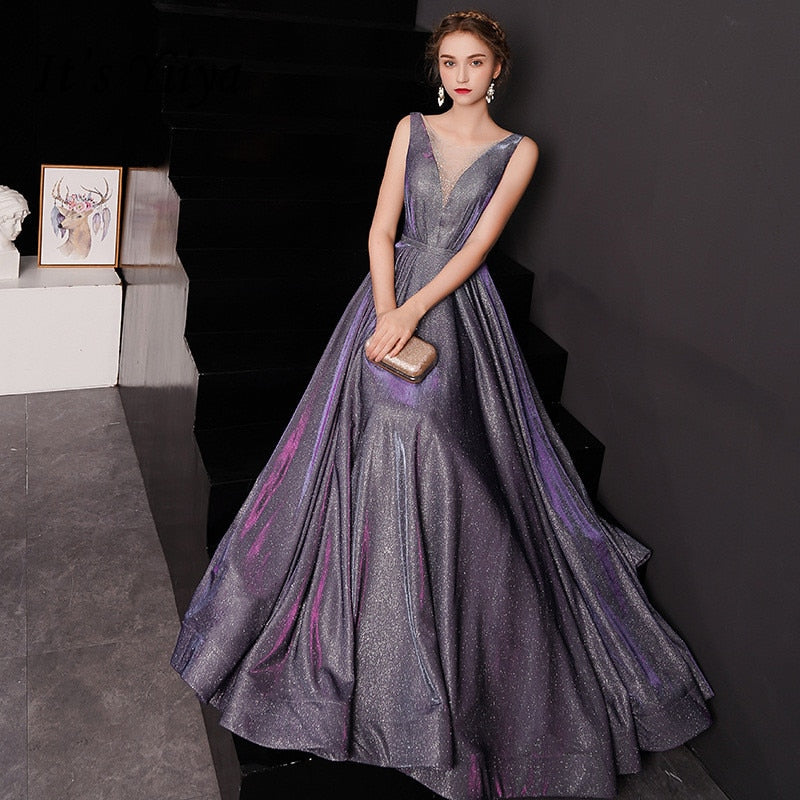 Evening Dress Shining Gradient Color Purple Formal Dresses
