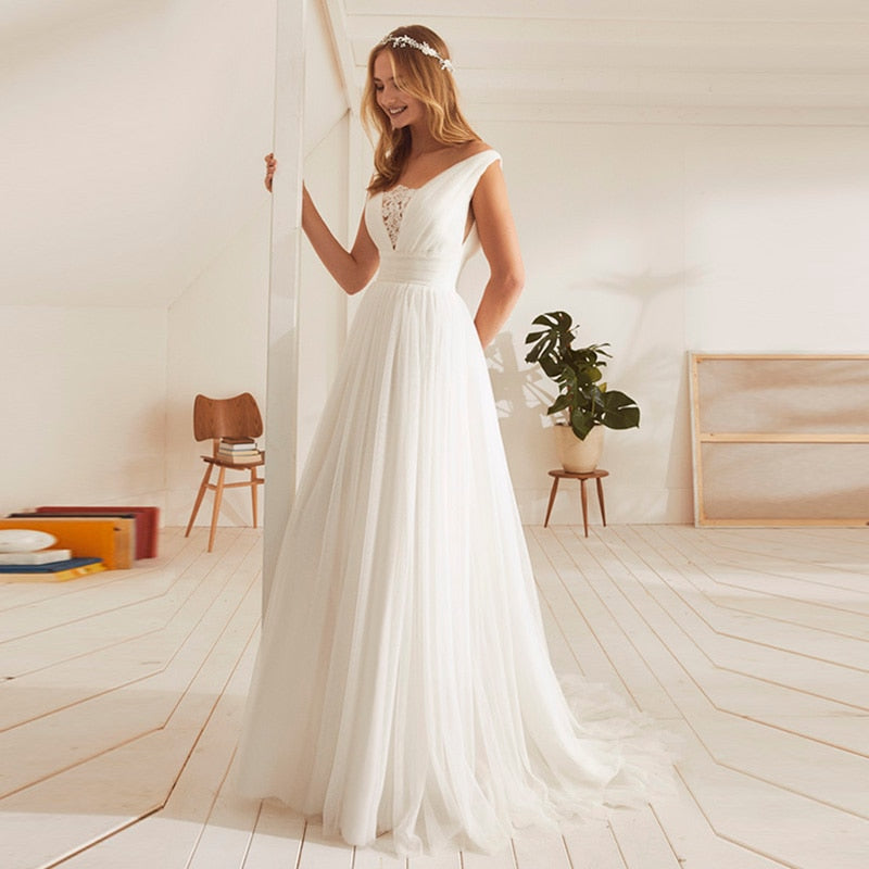 2019 Beach Tulle Backless Wedding Dresses Lace