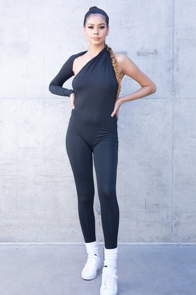 Solid One Shoulder Catsuit