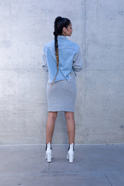 2 Piece Knit Skirt & Denim Knitted Jacket