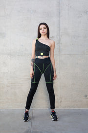 Waist Banded Line Point Leggings