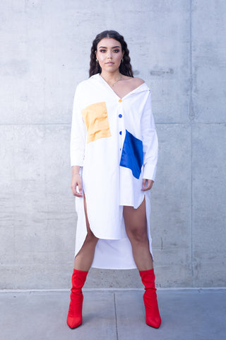 Color Blocked Oversized  White Tunic