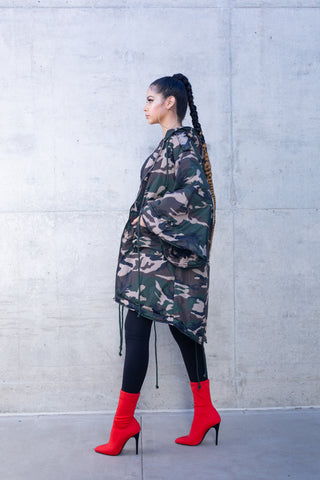 Hi Low All Over Print Puffer Jacket
