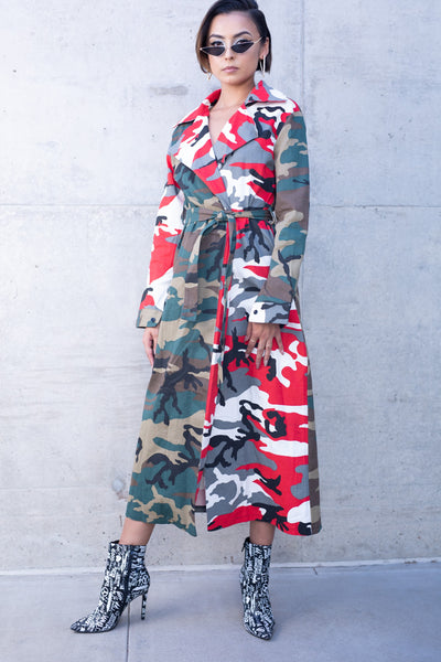 Two Tone Camo Trench Jacket