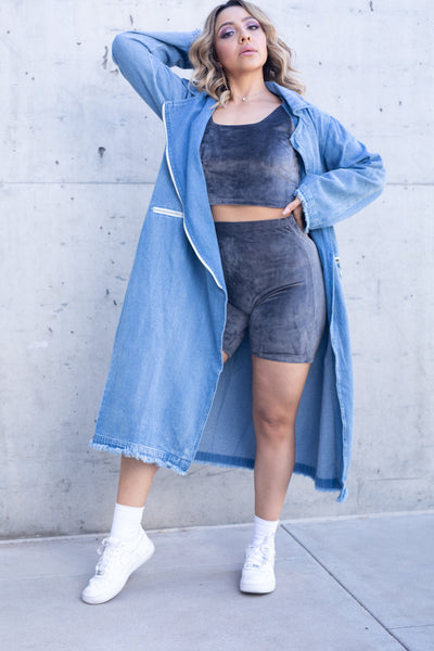 Zipper Denim Trench Coat
