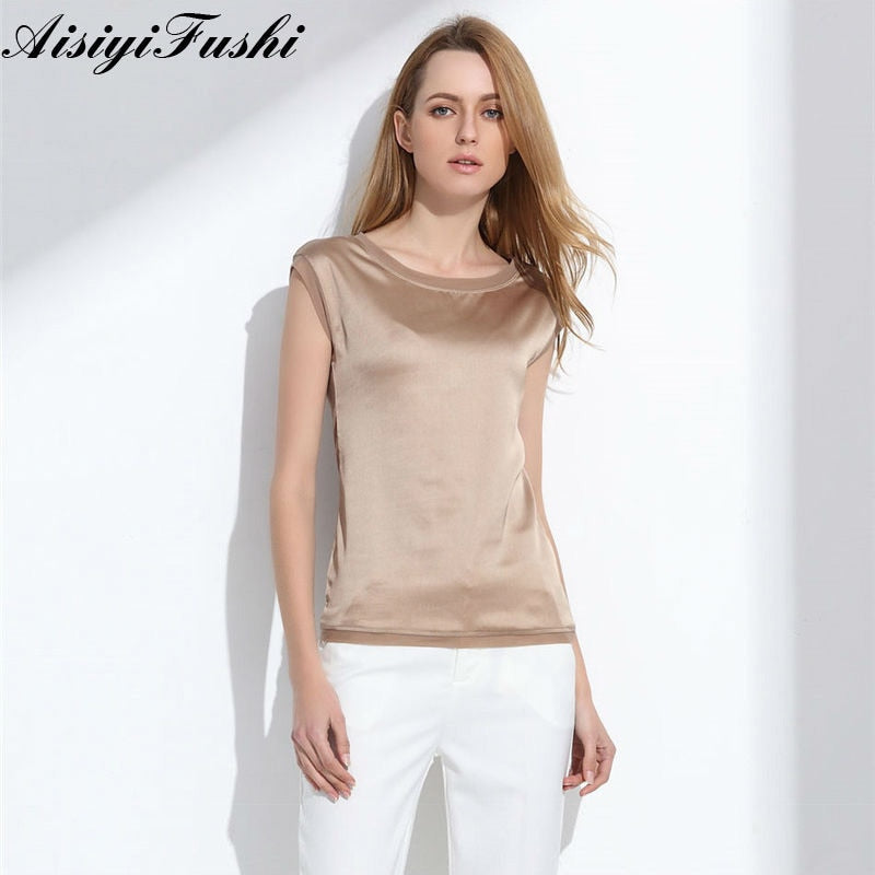 34f797fbd7f96 Women's Blouse 2019 Summer Shirts Casual OL Silk Women Blouse Shirt Sexy  White Red Tops Loose Sleeveless Work Wear 6 Color Blusa