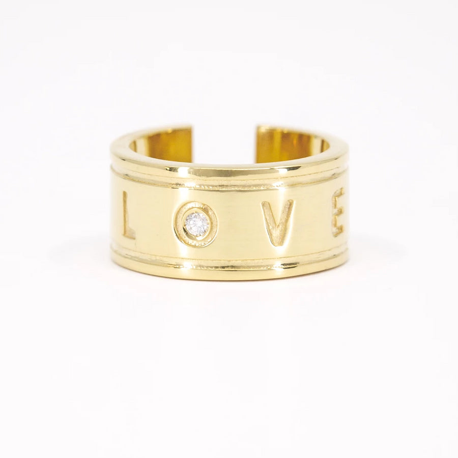 Anillo oro con diamante Love