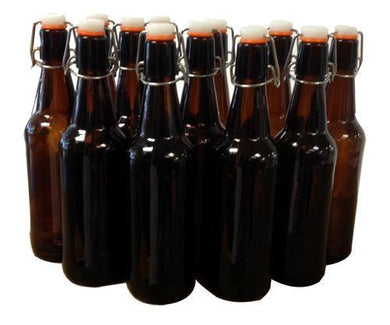 750mL Amber Flip Top Bottle (12 bottles)