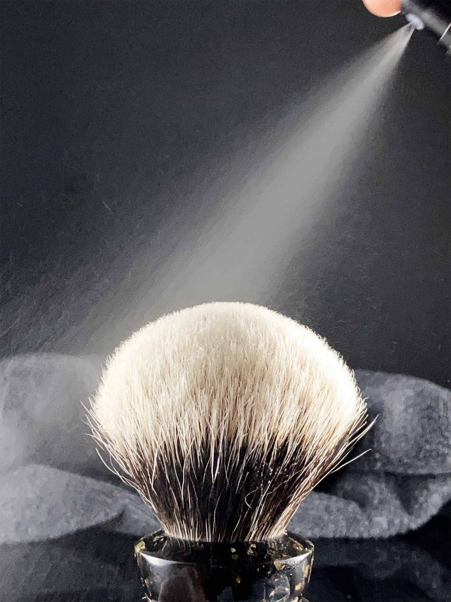 how to clean a shaving brush using a makeup brush cleaner