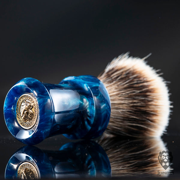 "Handmade Shaving Brush ""Nautilus"" in polished blue and silver resin"