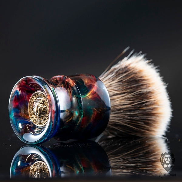 "Handmade shaving brush ""Phoenix"", with blue, red and gold hand poured resin handle."