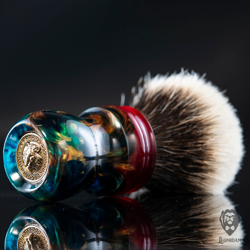 "Handmade shaving brush ""Vivaldi"", with blue, red and gold hand poured resin handle ."