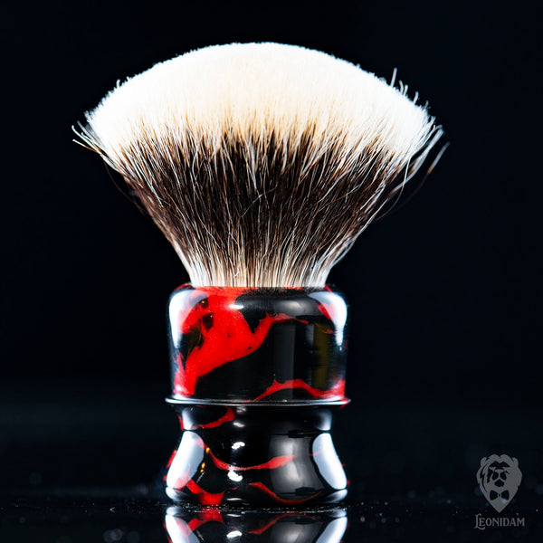 "Handmade Shaving Brush ""Balthazar"" in polished red and black resin"