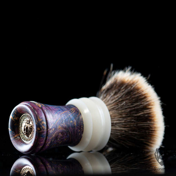 "Handmade Shaving Brush ""Virtus"" in stabilized briar wood and resin"