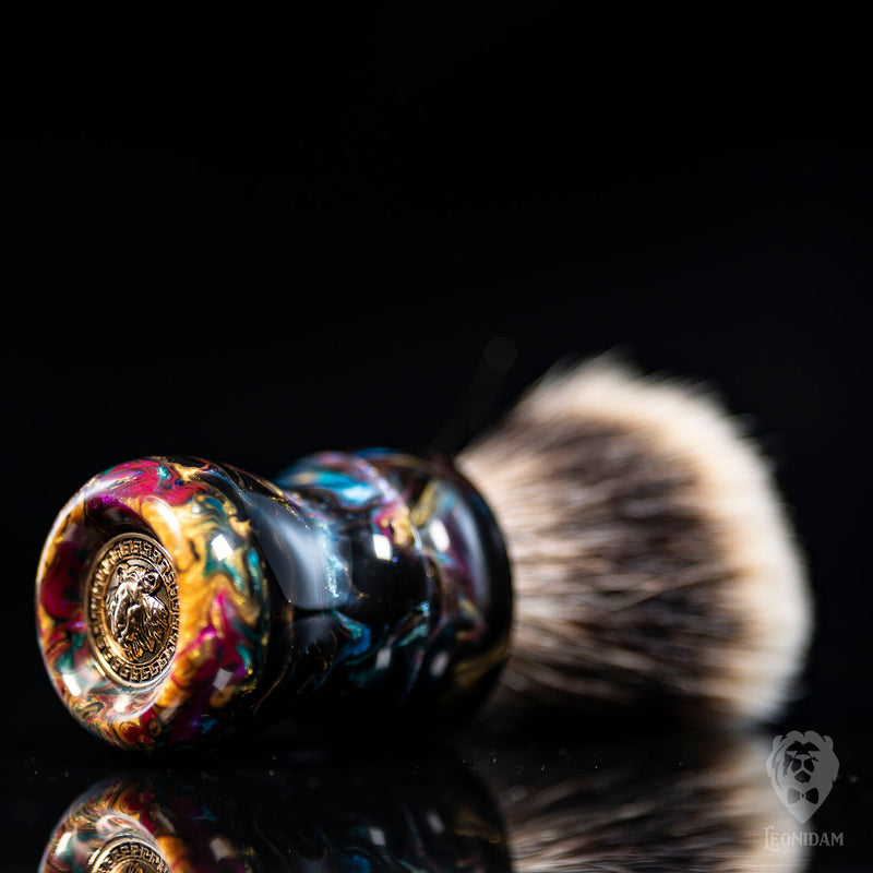Handmade shaving brush, with black resin and colorful handpoured resin handle.