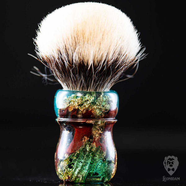 "Handmade Shaving Brush ""Doge"" in stabilized mooring post wood covered with gold and blue resin"